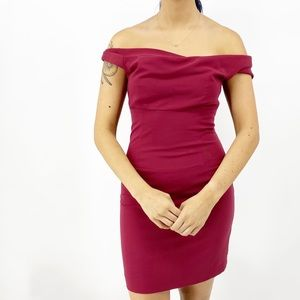 BLACK HALO Burgundy Off the Shoulder Dress Size 8